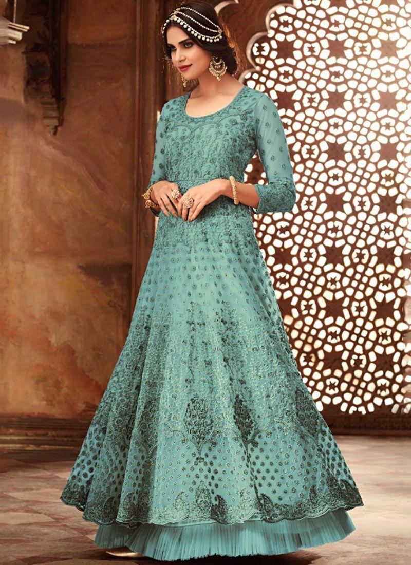 Embroidered Net Blue Floor Length Anarkali Suit