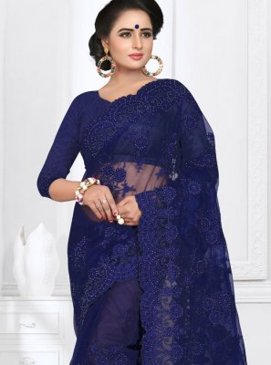 Embroidered Net Blue Saree
