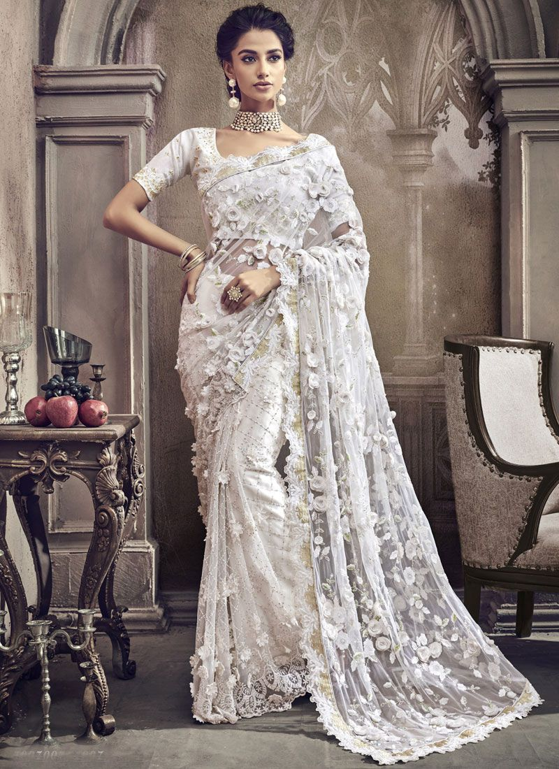 9bf957e245 Buy Embroidered Net Classic Designer Saree in White Online -