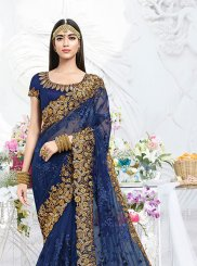 Embroidered Net Classic Saree in Blue