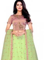 Embroidered Net Designer Lehenga Choli in Green