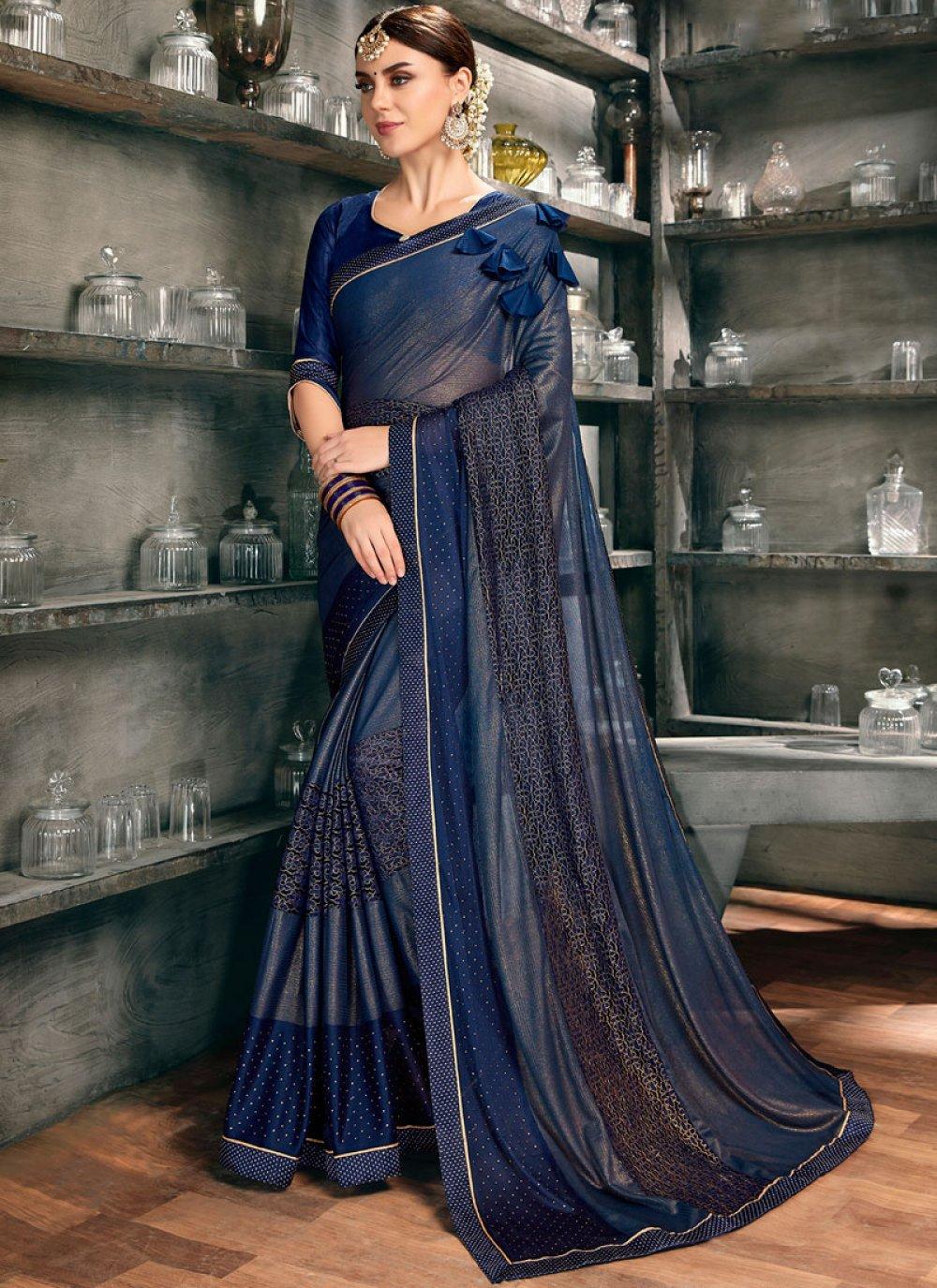 Embroidered Net Designer Saree in Blue
