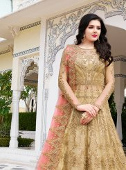 Embroidered Net Floor Length Anarkali Suit in Beige