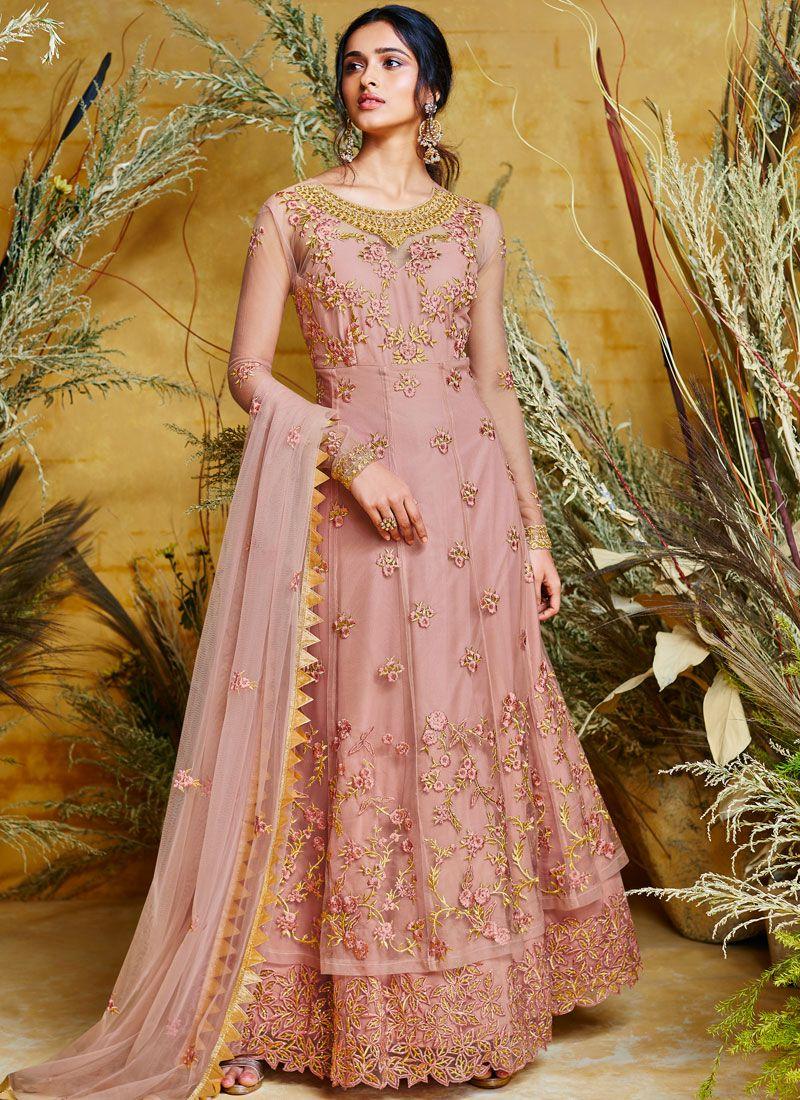 Embroidered Net Floor Length Anarkali Suit in Pink