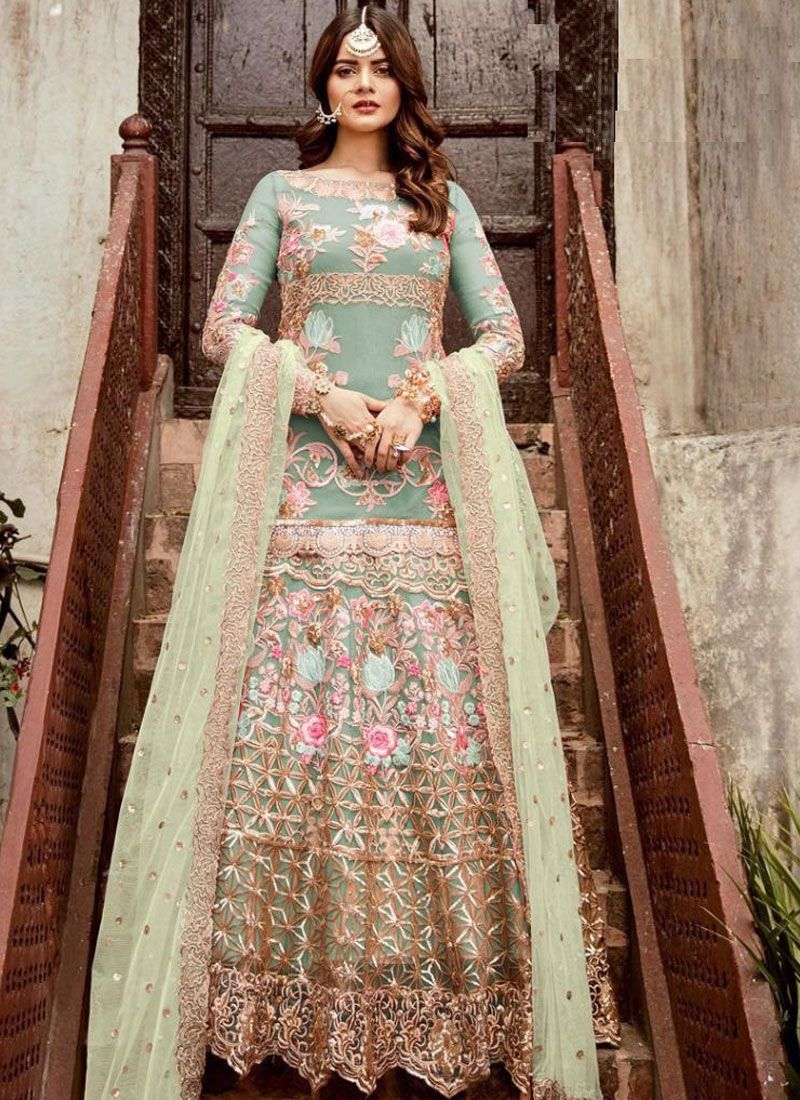 Embroidered Net Floor Length Anarkali Suit in Sea Green