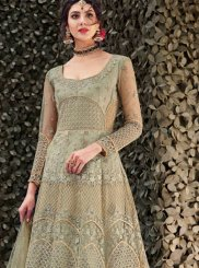 Embroidered Net Green Designer Gown