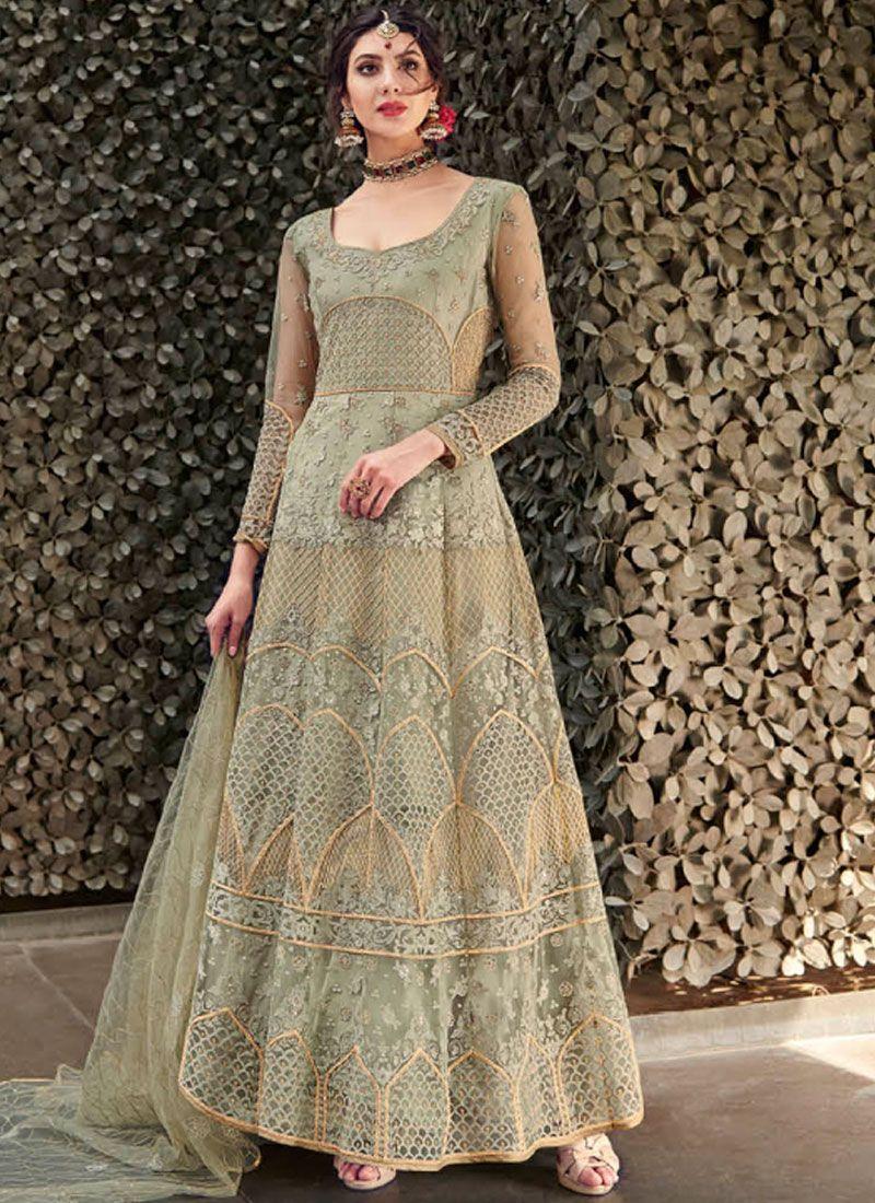Embroidered Net Green Designer Gown