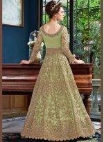 Embroidered Net Green Designer Lehenga Choli