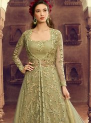 Embroidered Net Green Floor Length Anarkali Suit