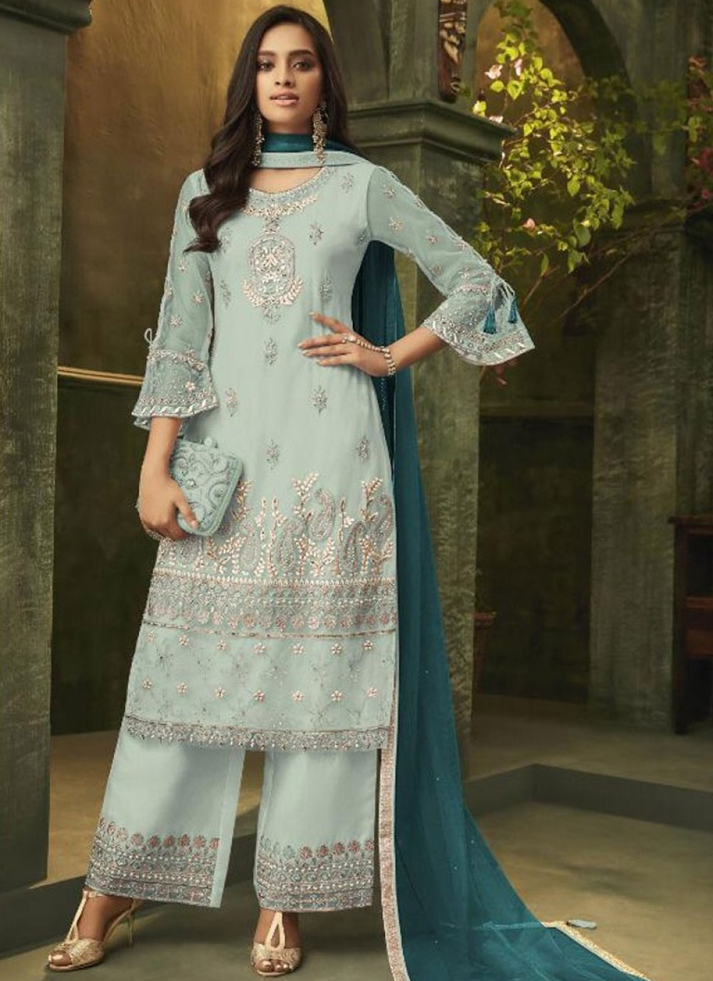 Embroidered Net Grey Designer Palazzo Suit