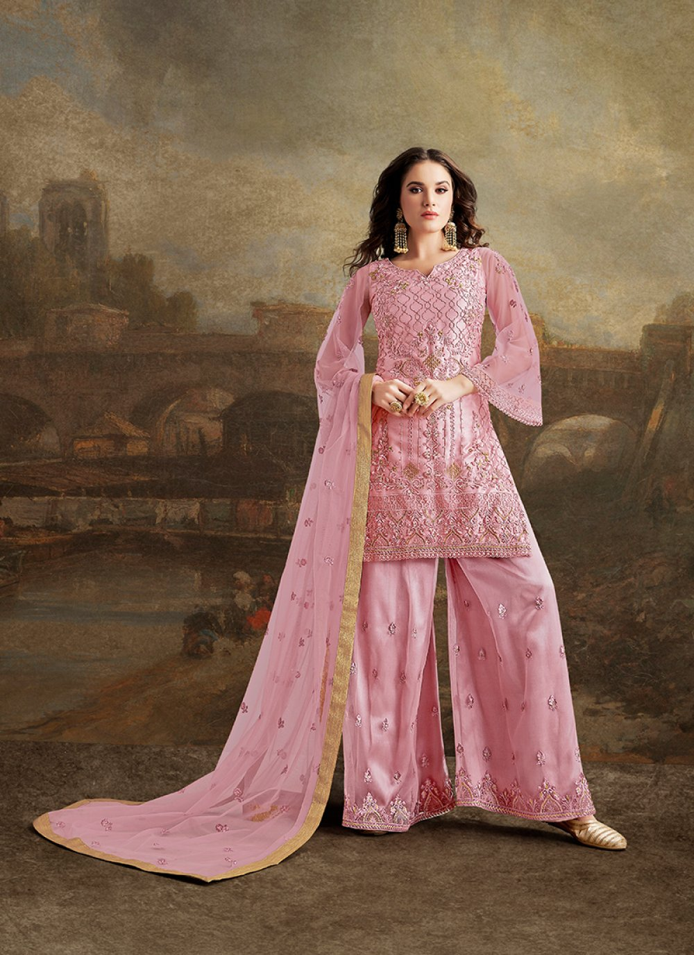 Embroidered Net Palazzo Salwar Suit