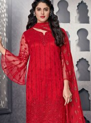 Embroidered Net Pant Style Suit in Red