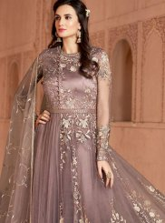 Embroidered Net Peach Desinger Anarkali Salwar Suit