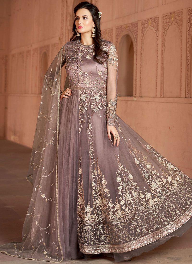 Embroidered Net Peach Desinger Anarkali Salwar Suit
