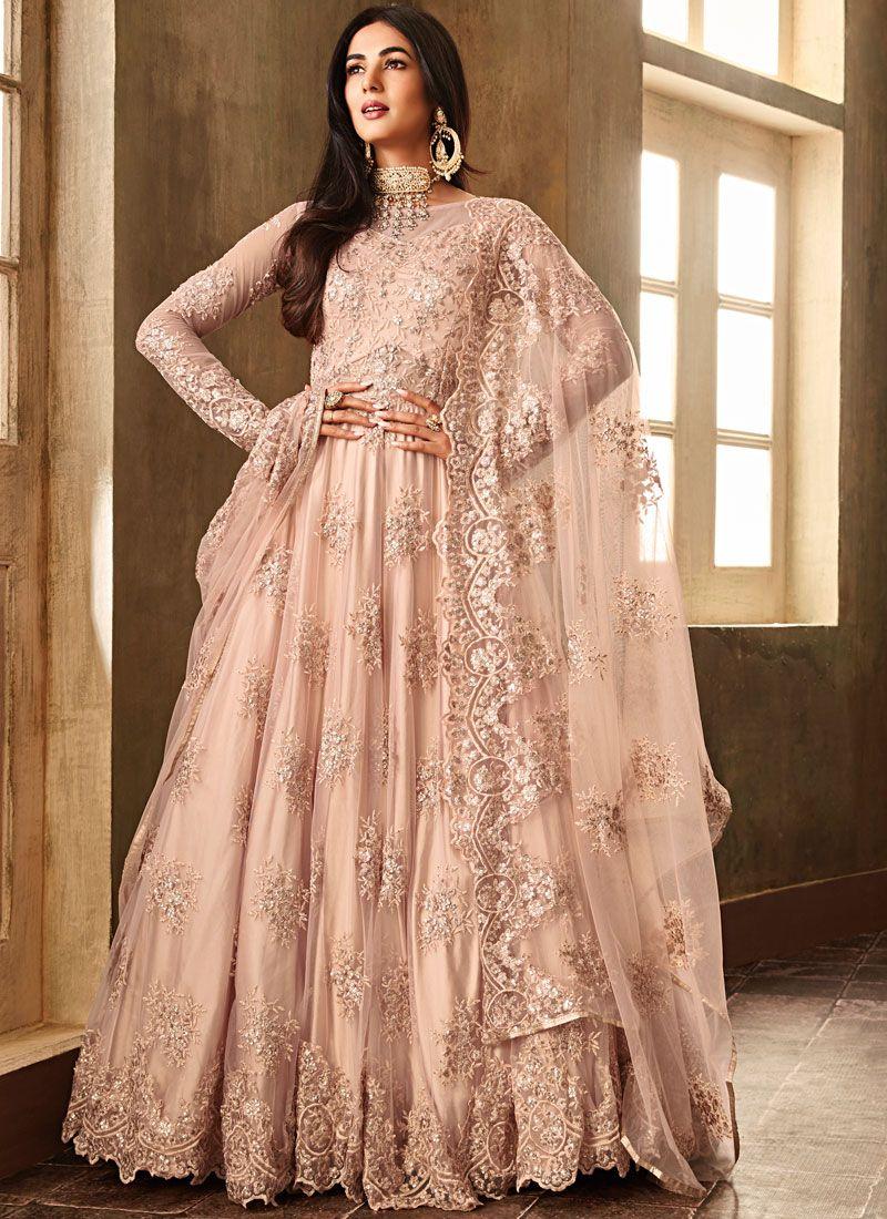 Embroidered Net Pink Anarkali Salwar Suit