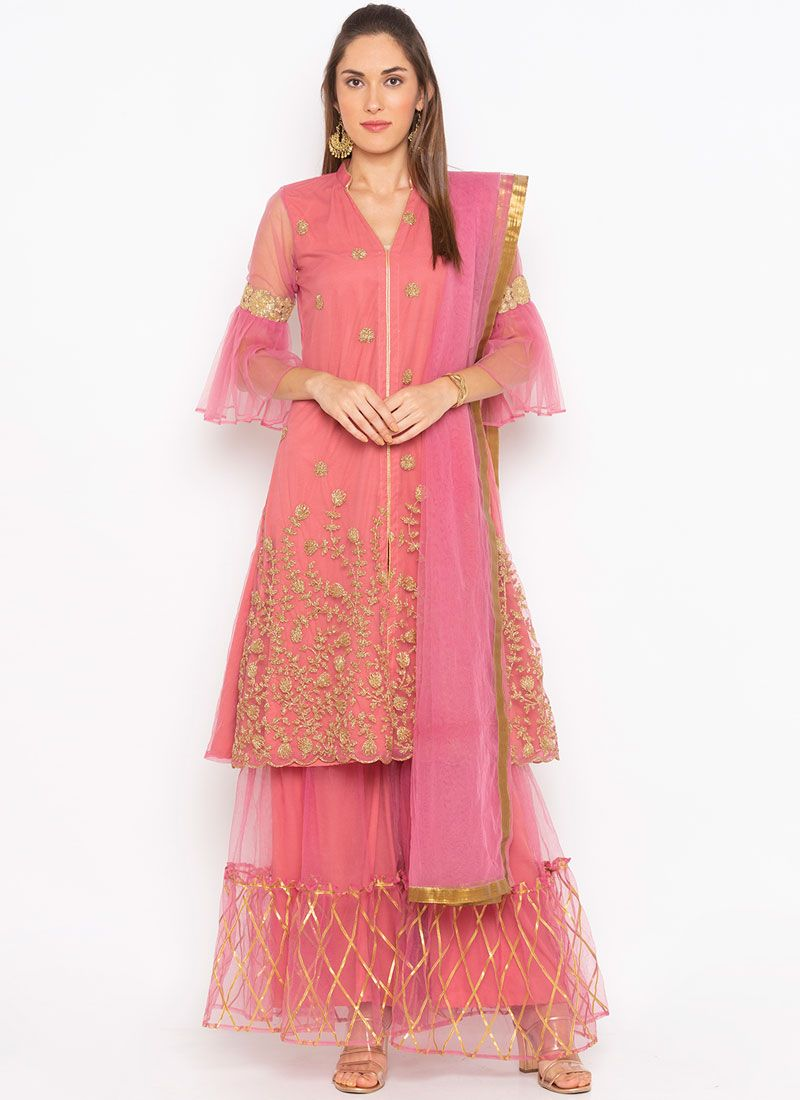 Embroidered Net Pink Readymade Suit
