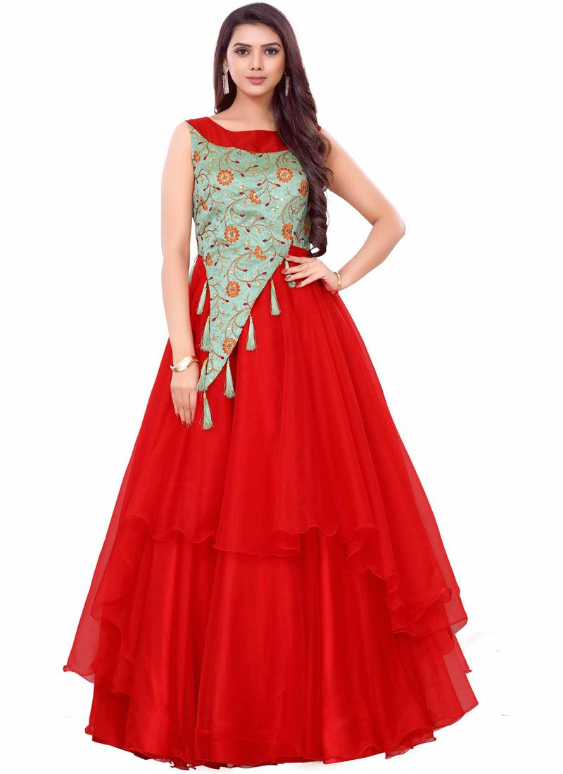 Embroidered Net Readymade Gown