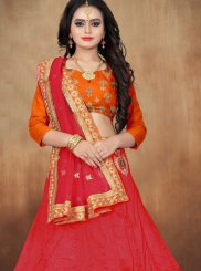 Embroidered Net Red Lehenga Choli