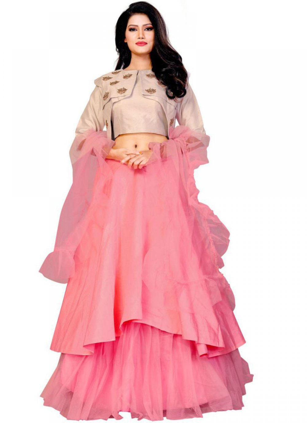 Embroidered Net Rose Pink Designer Lehenga Choli