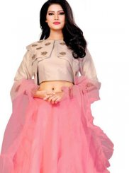 Embroidered Net Rose Pink Designer Lehenga Choli