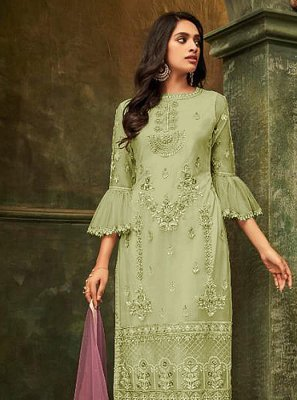 Embroidered Net Salwar Kameez in Green
