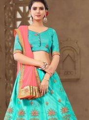 Embroidered Net Sea Green Trendy Lehenga Choli