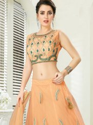 Embroidered Net Trendy A Line Lehenga Choli in Peach