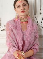 Embroidered Net Trendy A Line Lehenga Choli in Pink