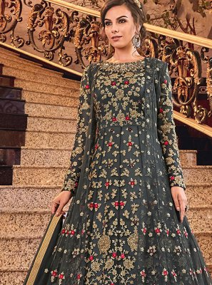 Embroidered Net Trendy Anarkali Suit