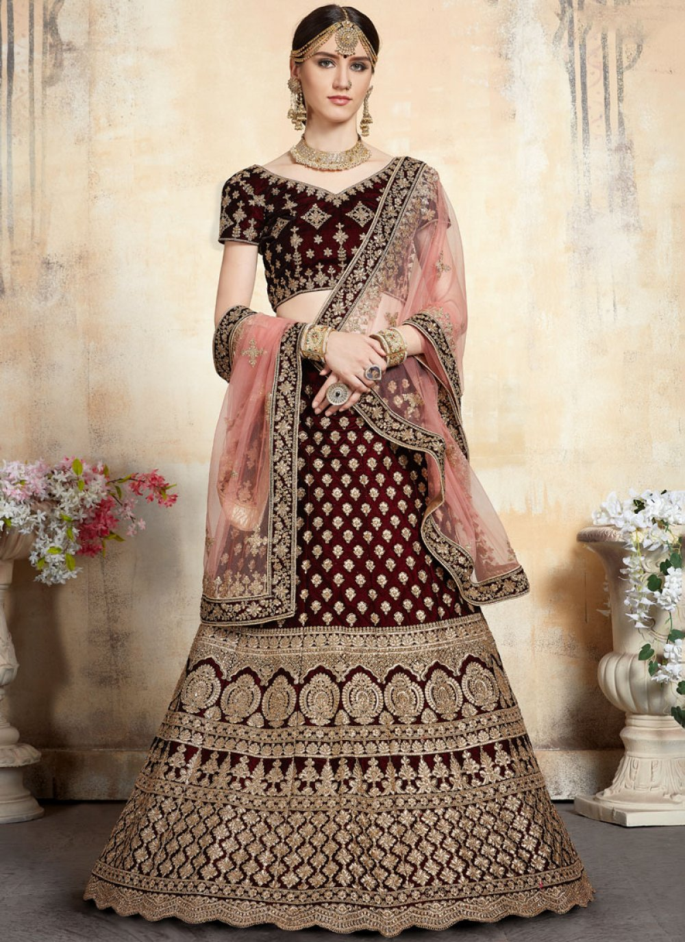 Embroidered Net Trendy Lehenga Choli in Maroon