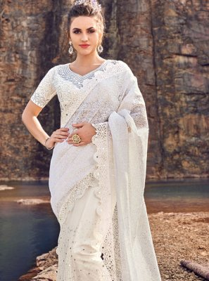 Embroidered Net White Classic Designer Saree