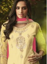 Embroidered Net Yellow Designer Palazzo Salwar Suit