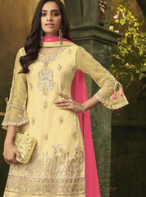 Embroidered Net Yellow Designer Palazzo Salwar Suit