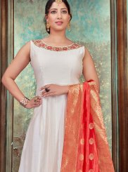 Embroidered Off White Chanderi Designer Gown