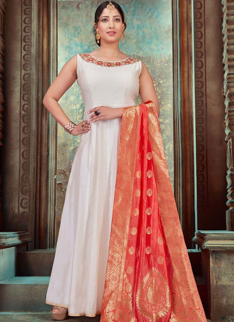 Embroidered Off White Chanderi Designer Gown