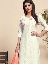 Embroidered Off White Cotton Churidar Designer Suit