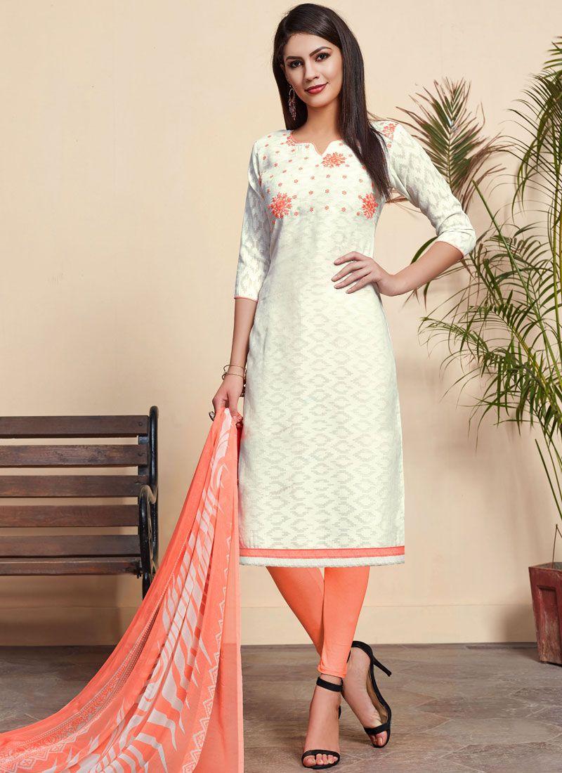 Embroidered Off White Cotton Churidar Designer Suit