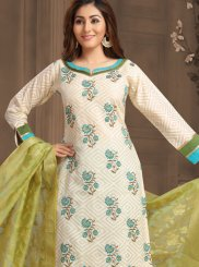 Embroidered Off White Designer Salwar Kameez