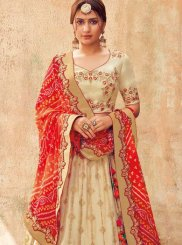 Embroidered Off White Trendy Lehenga Choli