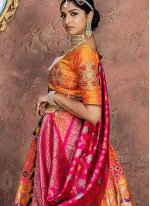 Embroidered Orange and Pink Designer Lehenga Choli
