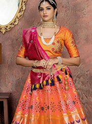 Embroidered Orange and Pink Designer Lehenga Choli