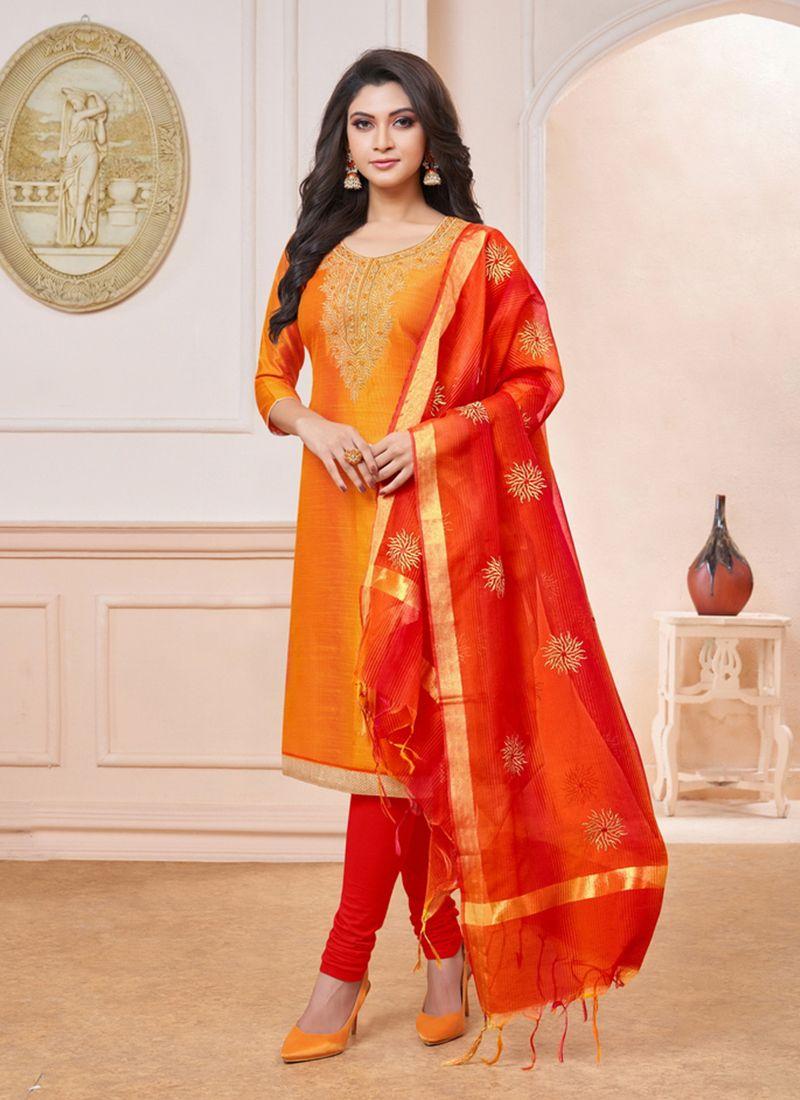 Embroidered Orange Art Silk Churidar Suit