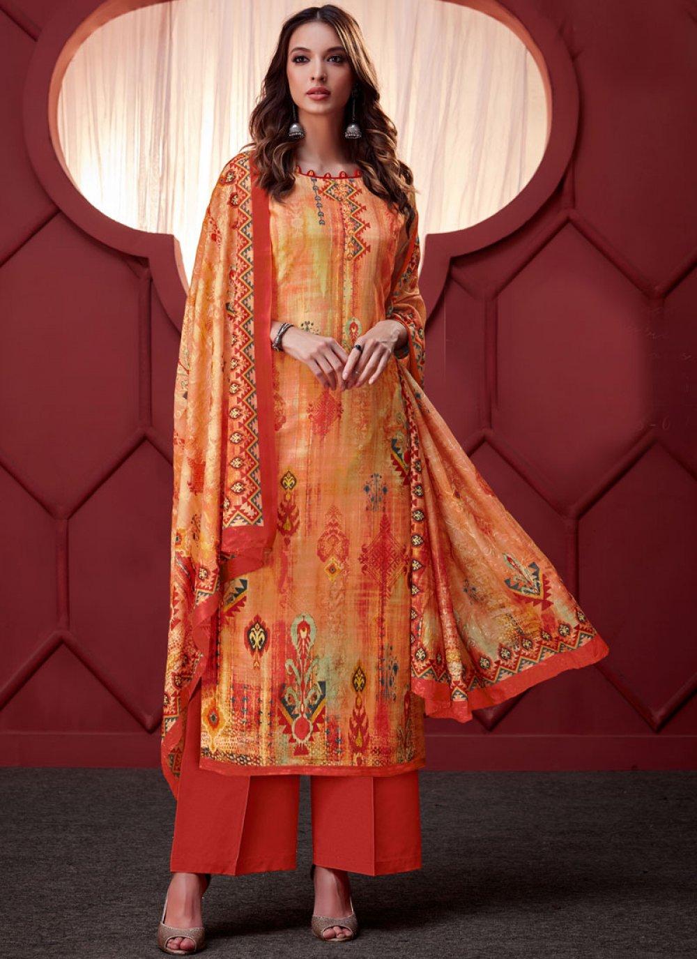 Embroidered Orange Art Silk Designer Palazzo Salwar Suit