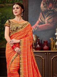 Embroidered Orange Art Silk Traditional Saree