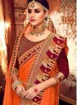 Embroidered Orange Classic Saree