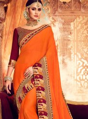 Embroidered Orange Classic Saree