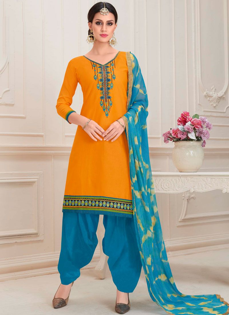 Embroidered Orange Cotton Designer Patiala Suit