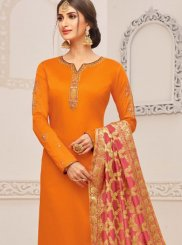 Embroidered Orange Cotton Silk Churidar Suit