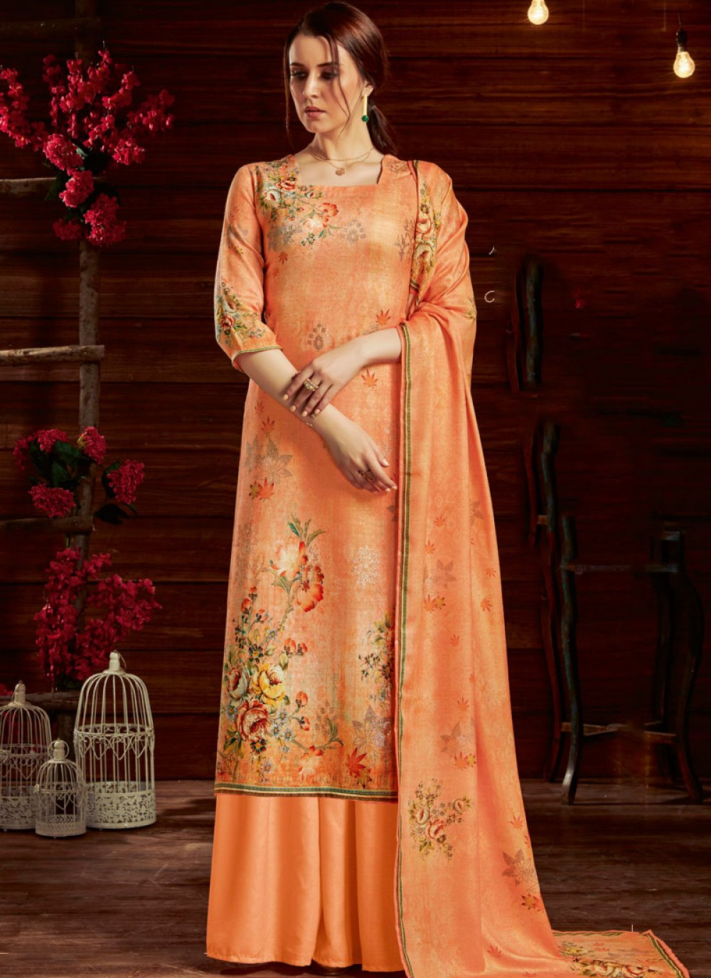 Embroidered Orange Palazzo Designer Suit