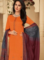 Embroidered Orange Pant Style Suit